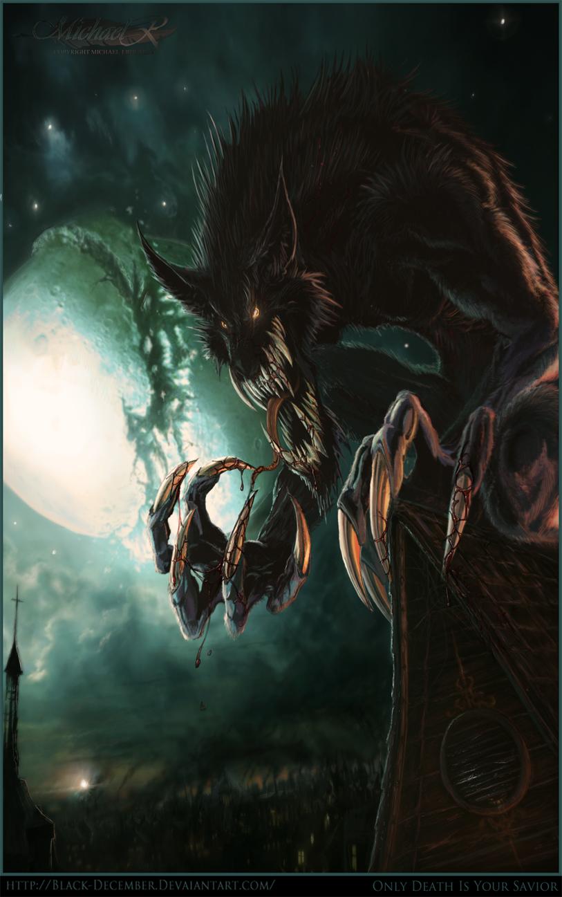 werewolf  only death is your savior - digital art