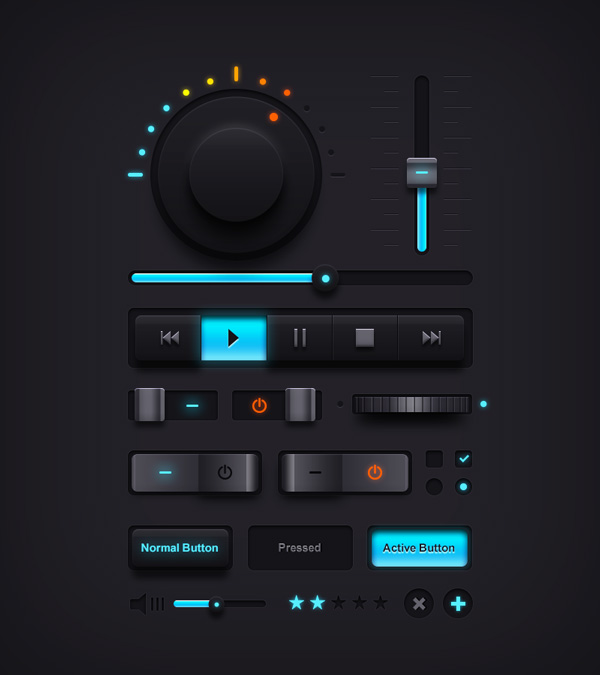 dark music ui elements - freebies