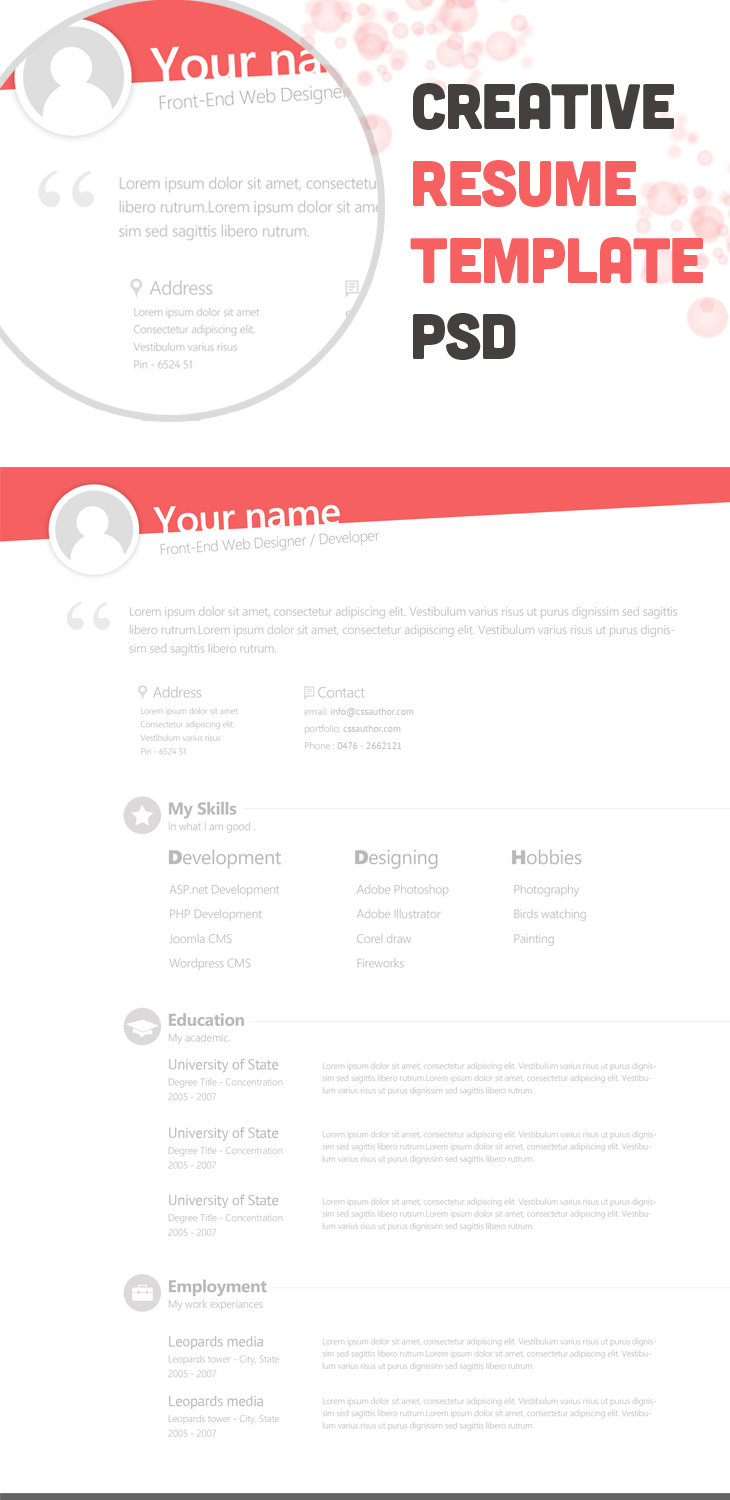 free creative resume template - freebies