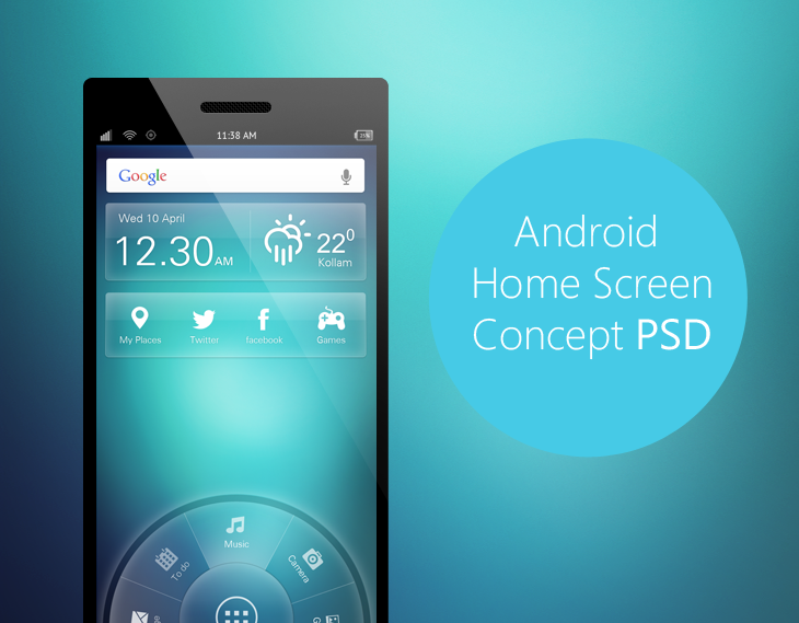 Android home screen concept freebies fribly Home design android