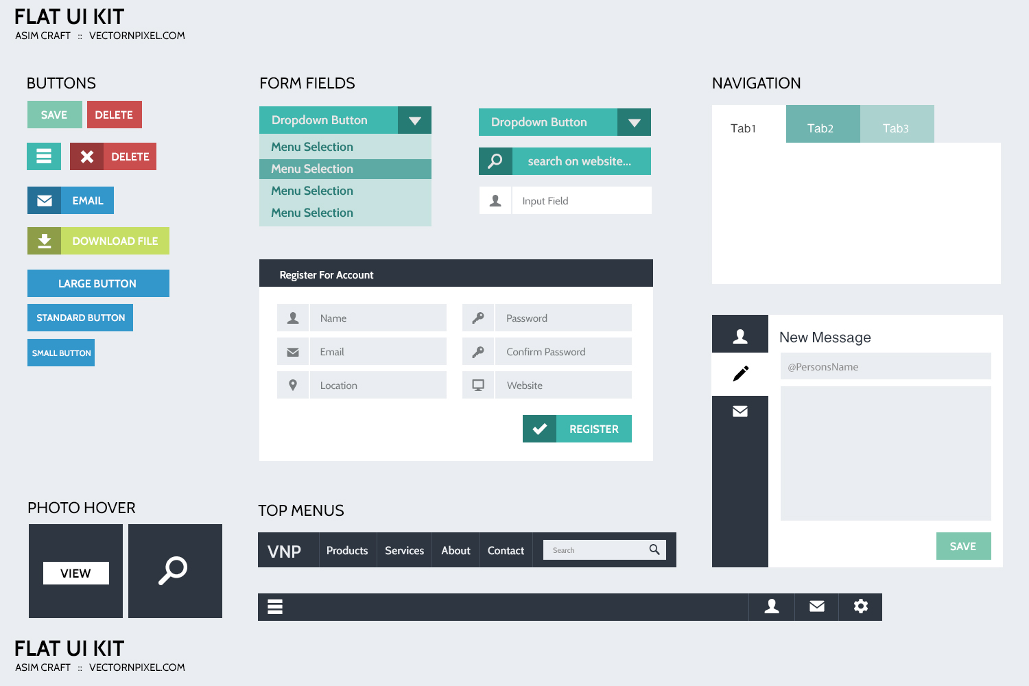 flat design ui  ux kit for websites - freebies