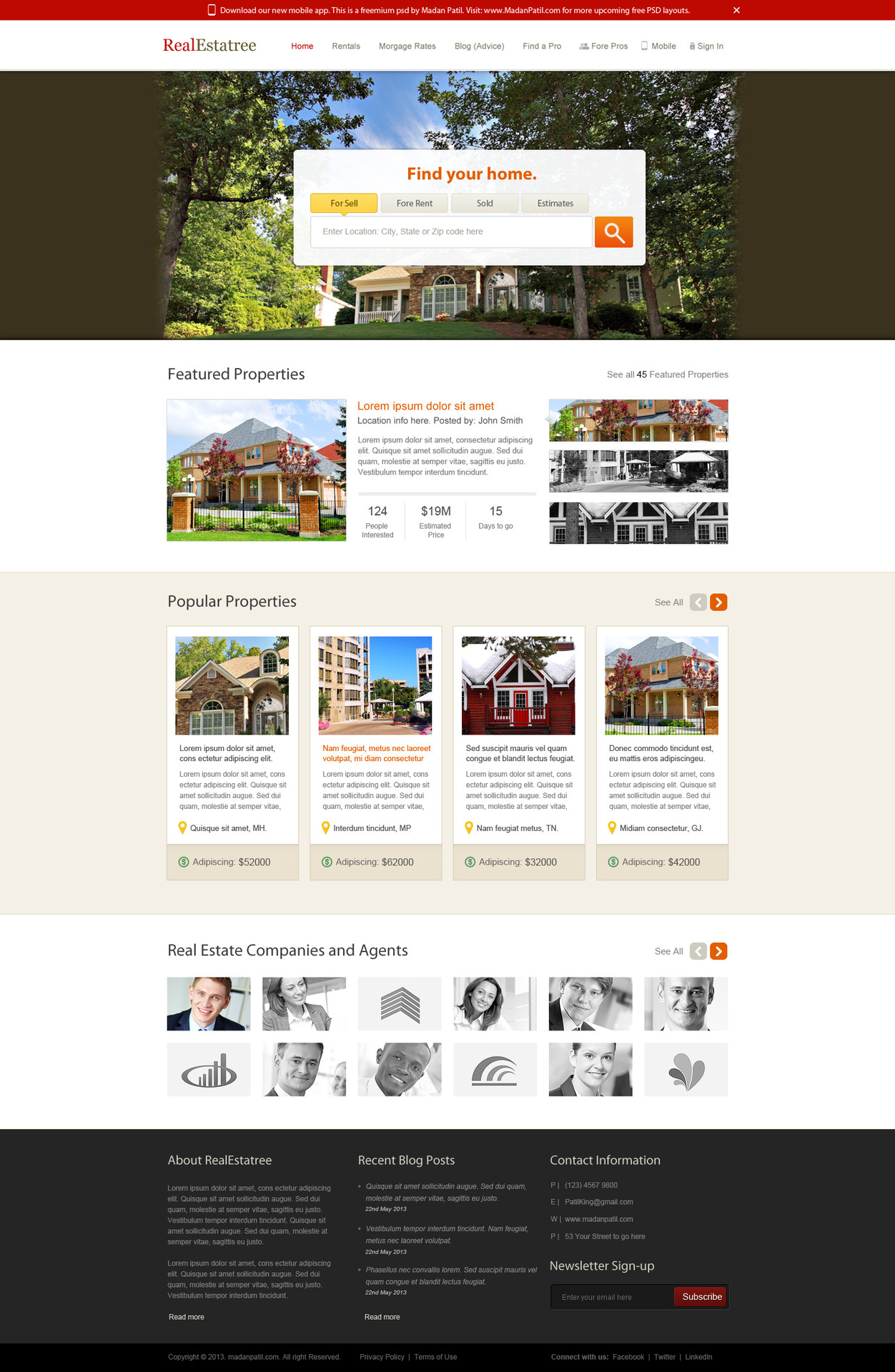 free home page layout for real estate website