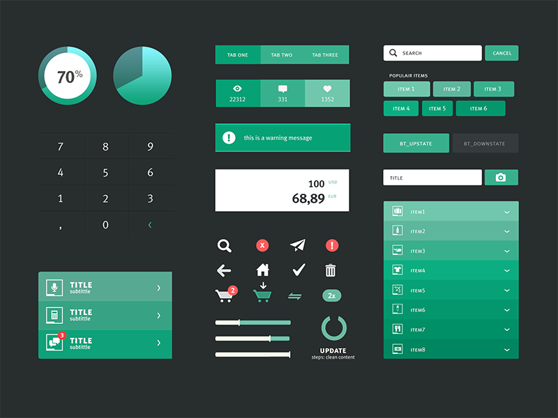 Flat Dark UI Kit