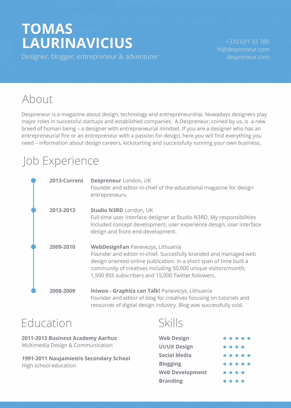 free minimal resume template freebies fribly - Free Resume Fonts