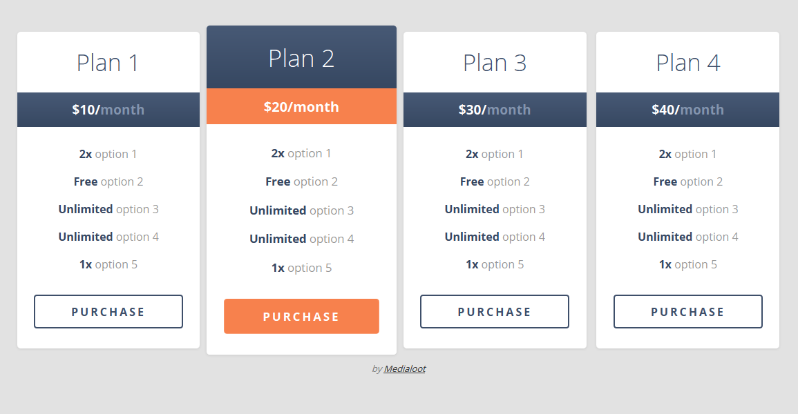 Responsive pricing table coding fribly for Table css template