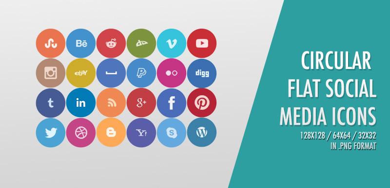 24 free circular flat social media icons - icons