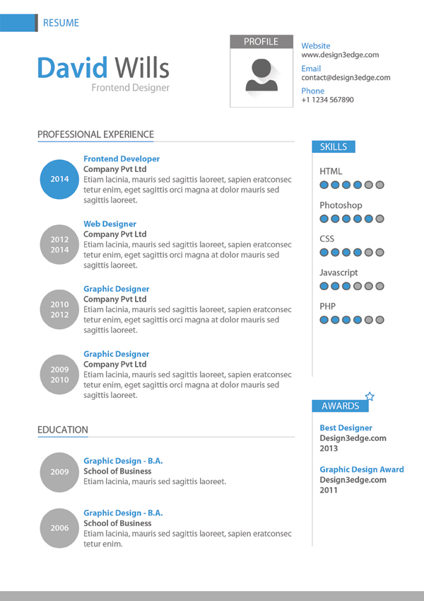 professional resume template design freebies fribly - Professional Resume Format Download