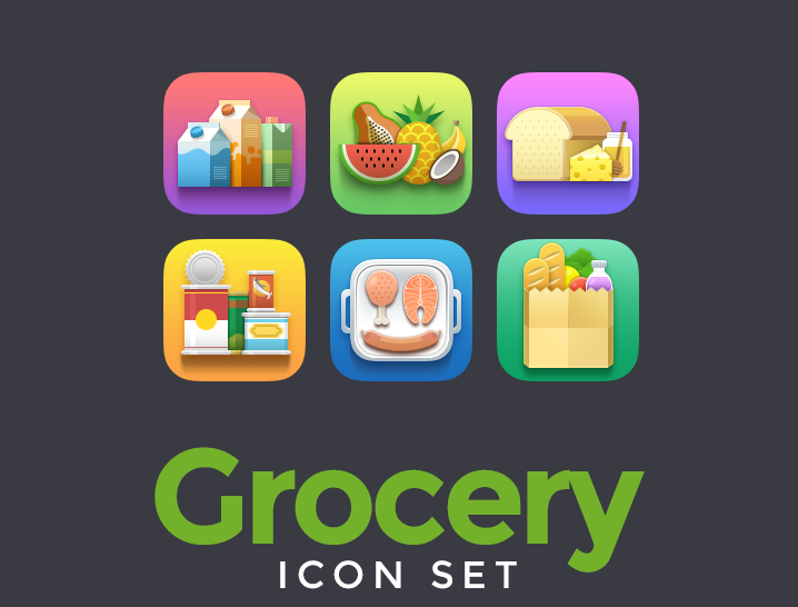 Free Grocery Icon Set - Icons - Fribly