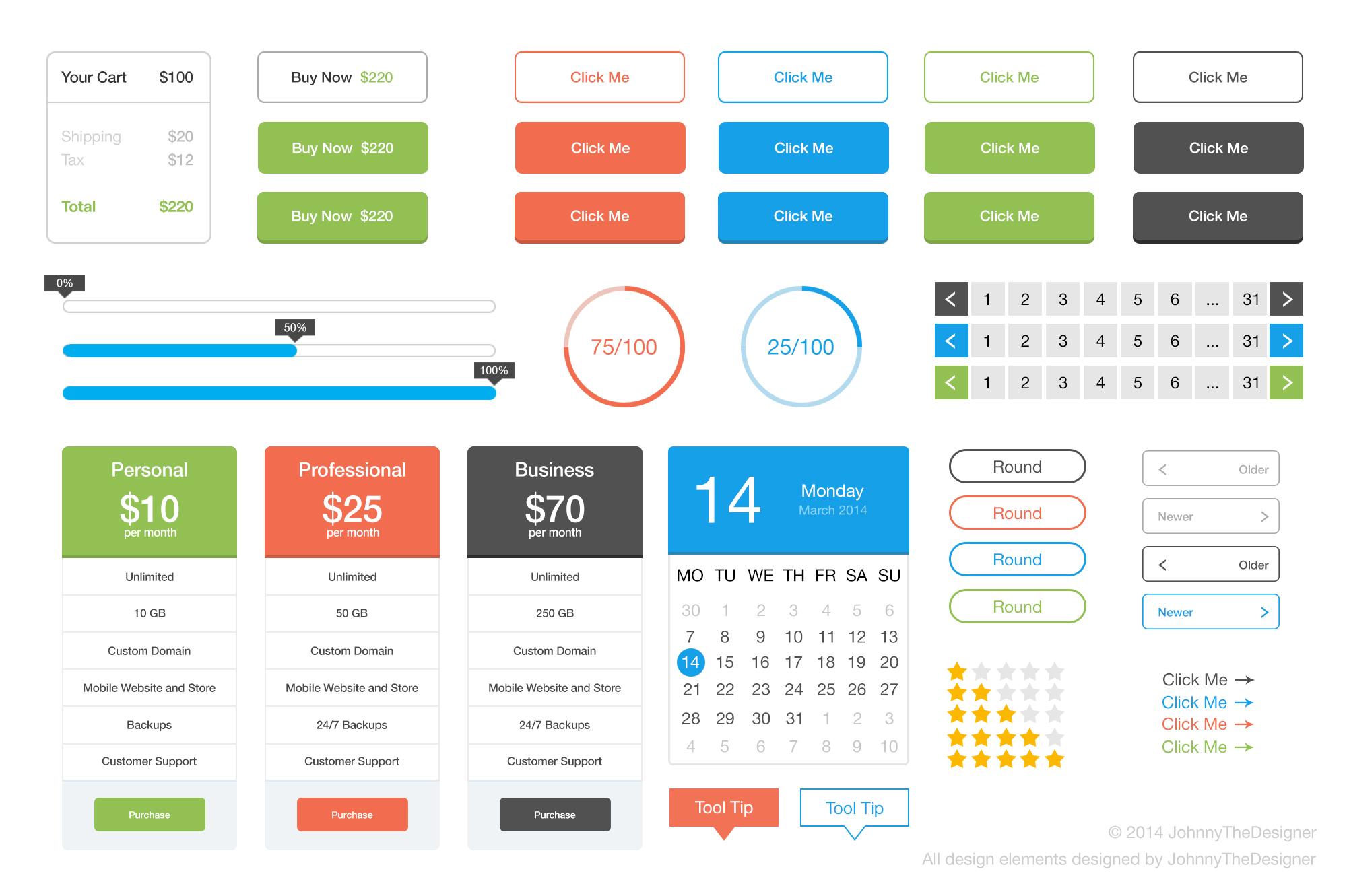 Flat User Interface Kit Freebies Fribly