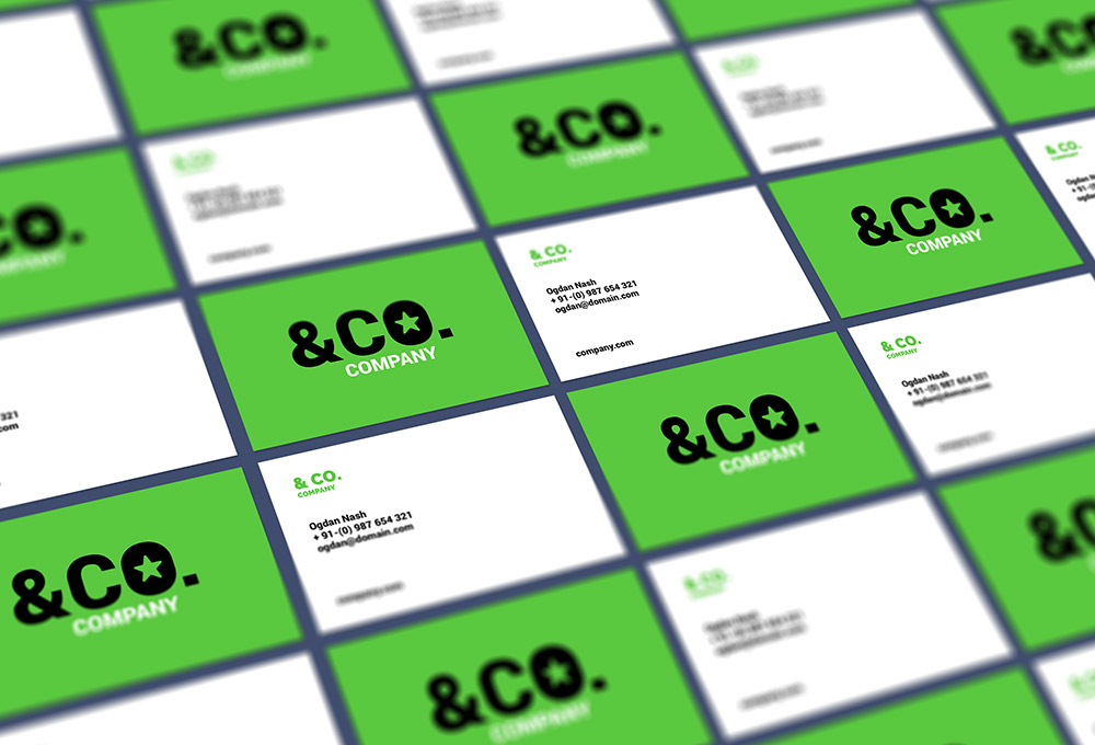 Tiled Perspective Business Card Mockup - Freebies - Fribly
