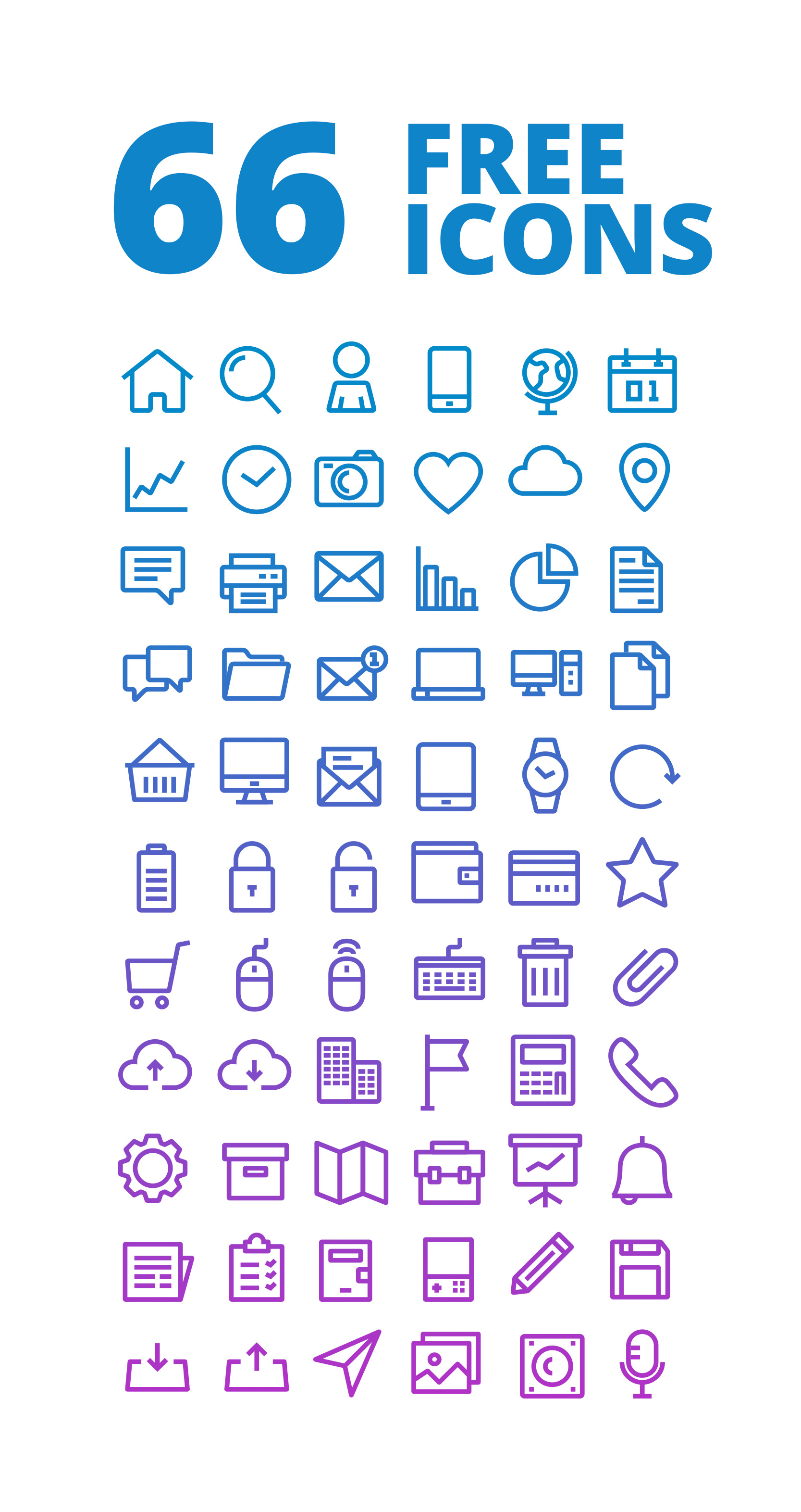 66 outline free icons set - icons