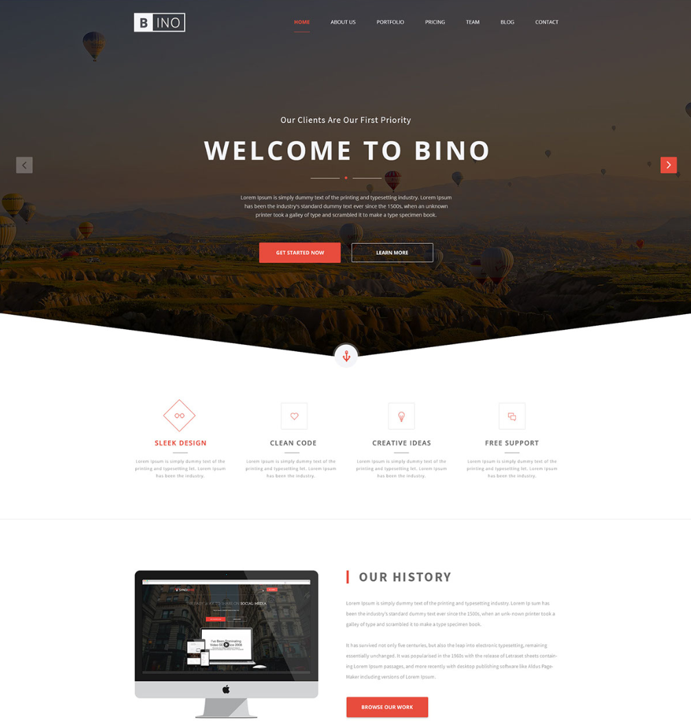 bino free landing page website template freebies fribly. Black Bedroom Furniture Sets. Home Design Ideas