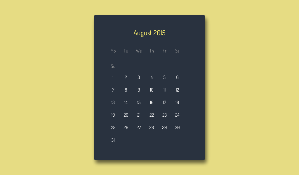 CSS Calendar Widget | Fribly | Inspiration & Resources From All ...