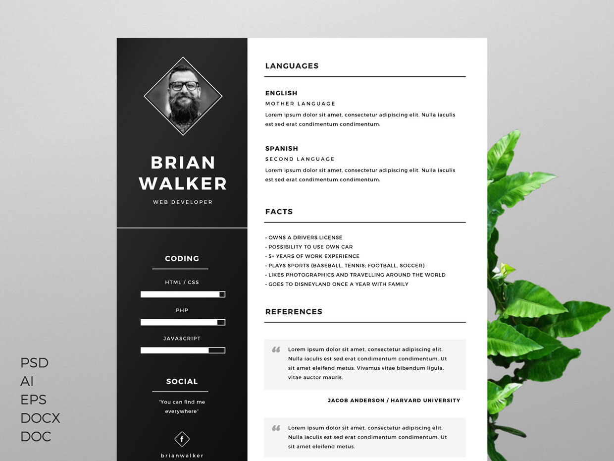 free resume template for word  photoshop  u0026 illustrator - freebies