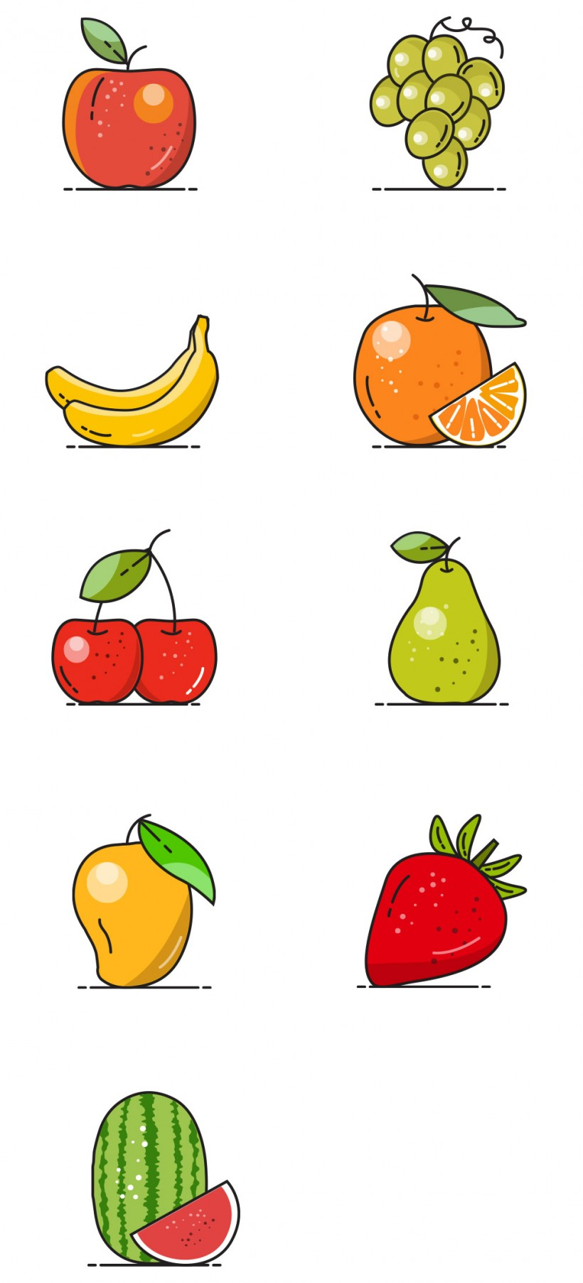 free vector fruit icons -