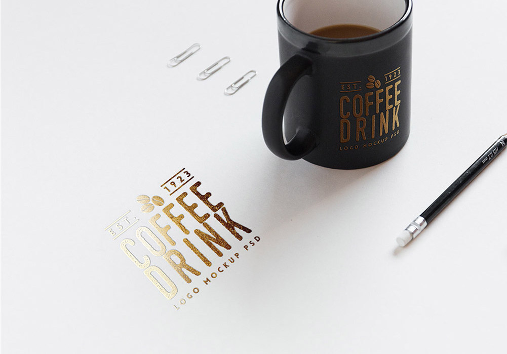 Free Logo Mockup on Paper And Coffee Cup - Freebies - Fribly
