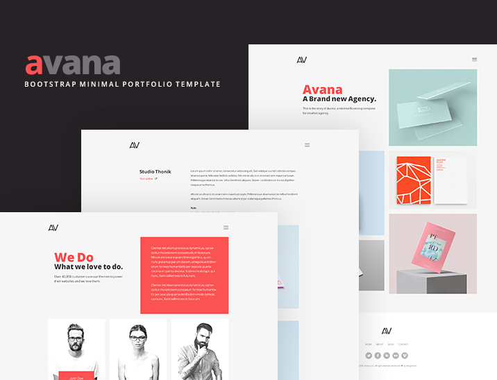 Avana minimal portfolio template built with bootstrap freebies fribly for Free bootstrap portfolio template