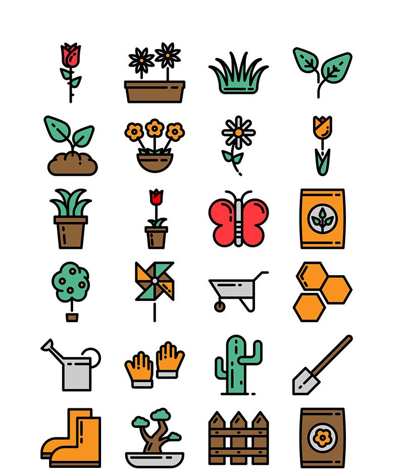 Free Vector Gardening Icons