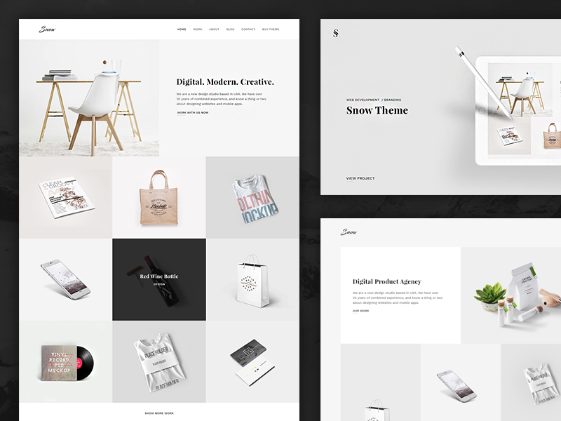 Snow free minimal clean portfolio website template psd for Free html product page template