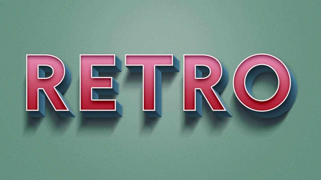 how to create retro text effect in adobe photoshop